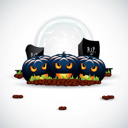 mysticism: Vector background to Halloween with funny pumpkins