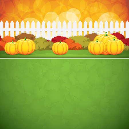 bush mesh: Autumn background.Pumpkins vector