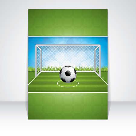 GOALS: Meta del fútbol y bola brochure.Vector Vectores