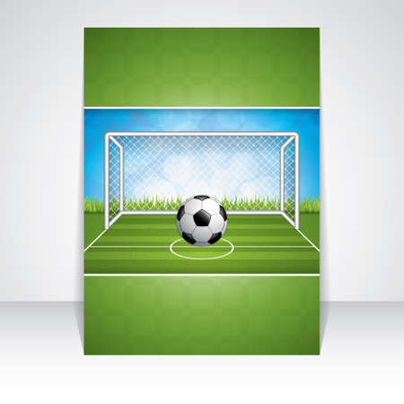 soccer field: Soccer goal and ball brochure.Vector Illustration