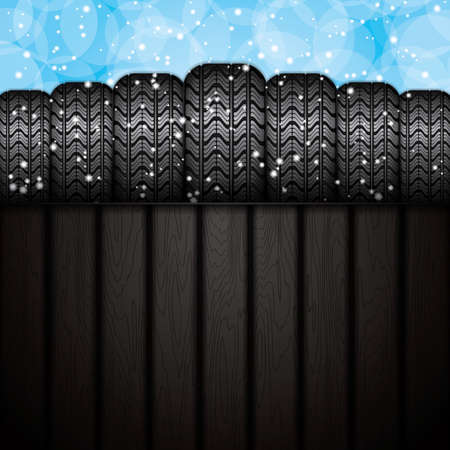 retreading: Dark background of realistic rubber tires.Winter concept.Vector