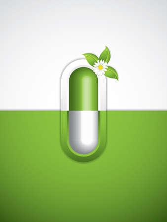 homeopathy: Green alternative medication concept - Homeopathy brochure vector