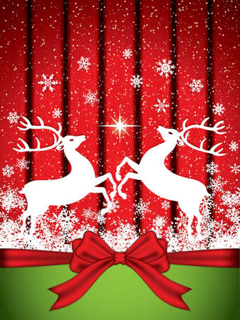 wooden reindeer: Beautiful red Christmas background with reindeer Illustration
