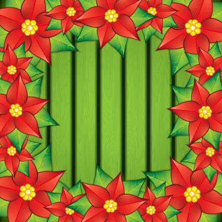 ramo de flores: Tarjeta de Navidad con decoración de flor de pascua. ilustración vectorial Vectores