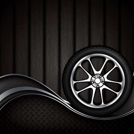 retreading: Realistic car wheel with shining rim.Vector illustration