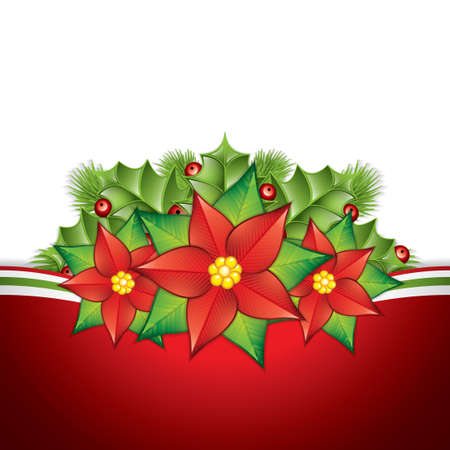 poinsettia: Christmas card with holly and poinsettia decoration. Vector illustration