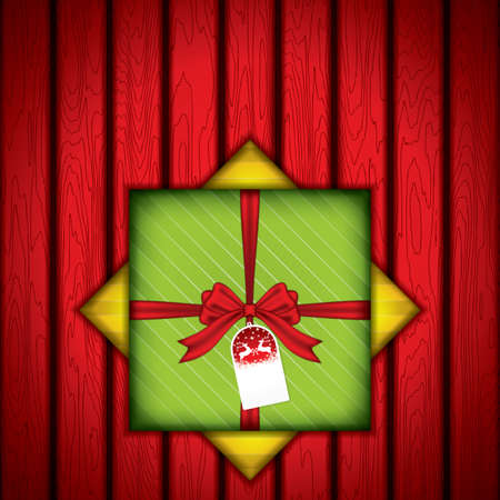Gift box with red wood texture.Vector Illustration