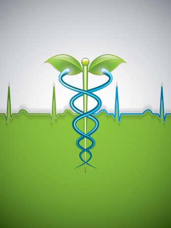 animal health: Herbal caduceus.Vector