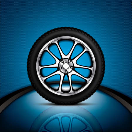 tire shop: Realistic car wheel with shining rim.Vector illustration