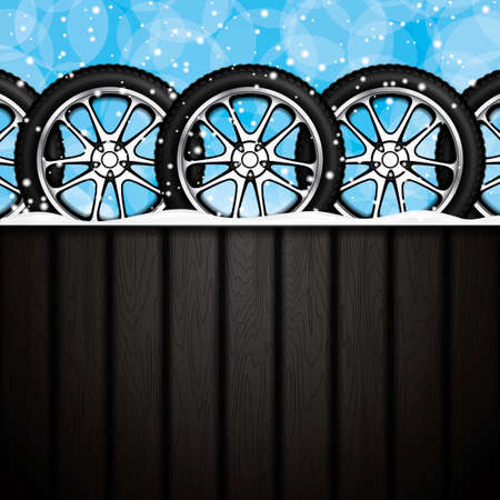 retreading: Realistic car wheels.Winter concept.Vector