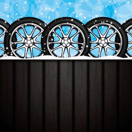 retreading: Realistic car wheels.Winter concept.Vector