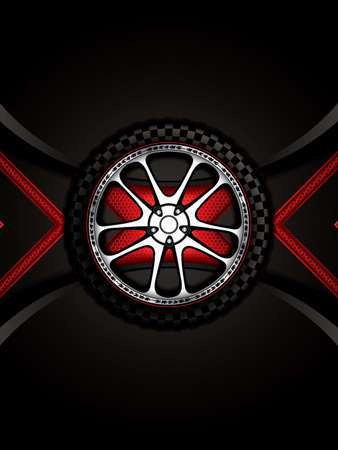 retreading: Realistic racing car wheel with shining rim.Vector illustration Illustration