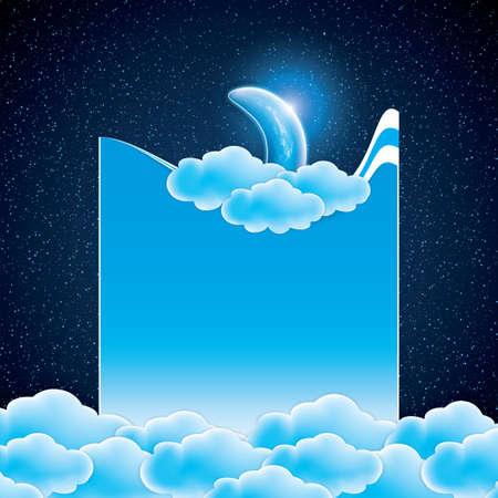 luna caricatura: Luna, las nubes y las estrellas. Dulces sue�os wallpaper.Vector ilustraci�n
