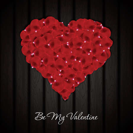 hearty: Beautiful heart made from rose petals on wooden texture. Vector background Illustration