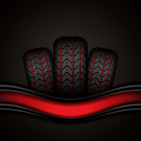 retreading: Black rubber tires on red background, vector illustration