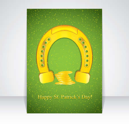 patricks day: Golden horseshoe flyer design for St. Patricks Day.