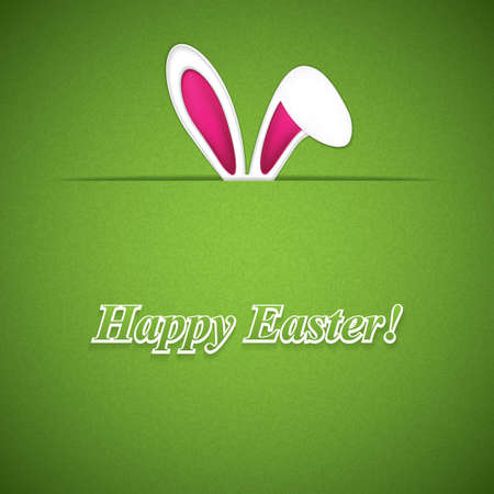 ears: Happy Easter greeting card with rabbit ears.