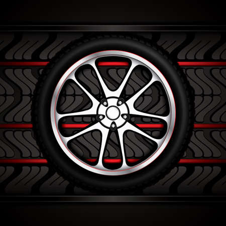 retreading: Realistic racing car wheel with shining rim.Vector illustration Illustration