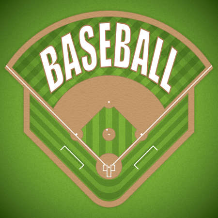 A vector illustration of a baseball field from above view. Vectores