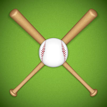 sphere base: Baseball leather ball and wooden bats on green background Illustration