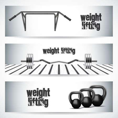 sport equipment: Sport banner horizontal set with weight lifting equipment vector illustration