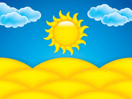 barren: Illustration of a warm day in barren desert with yellow sand and blue sky