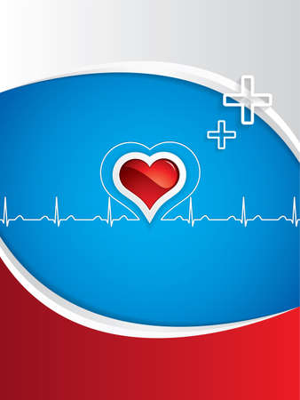 set the intention: Heartbeat on blue medical background.