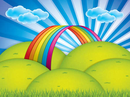 Spring background with rainbow and clouds