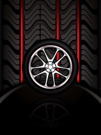 retreading: Red tire track background illustration