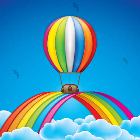 inflate: Spring background with hot air balloon and rainbow