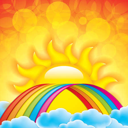 arched: Bright arched rainbow with clouds realistic illustration