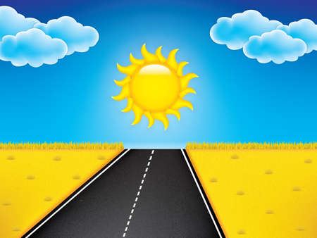 Road in golden yellow field, sun, clouds on the blue sky. Illustration