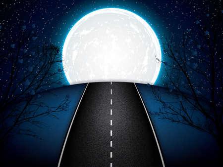 away travel: Asphalt road night bright illuminated large moon