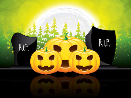 graves: Halloween night background with pumpkin and grave stone