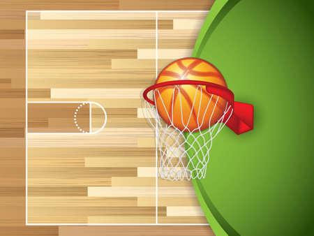 Un terrain de basket en bois texturé réaliste avec le basket-ball dans la cour du centre