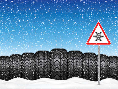 Vector illustration winter car tires and triangle road sign with snowflake