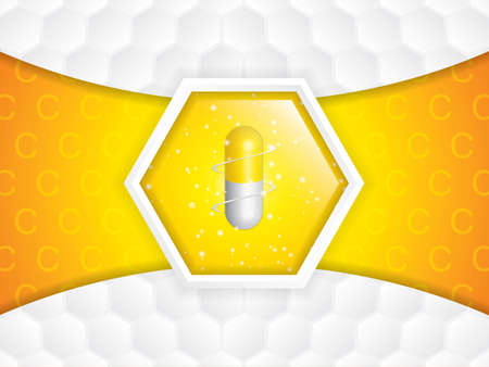 Vitamin C glossy brochure.Science concept - vector illustration
