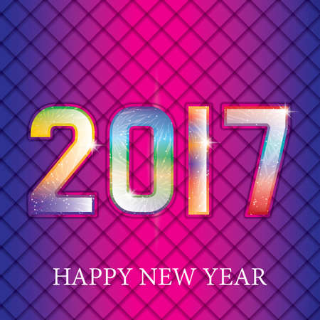 seasons of the year: Happy New 2017 Year. Seasons greetings, colorful fireworks design. Illustration