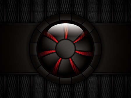 red metal: Realistic computer cooler.Vector Illustration