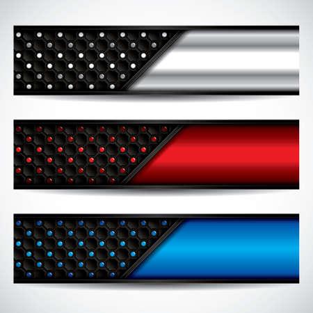 metallic: Banners, metallic set, modern backgrounds design, vector