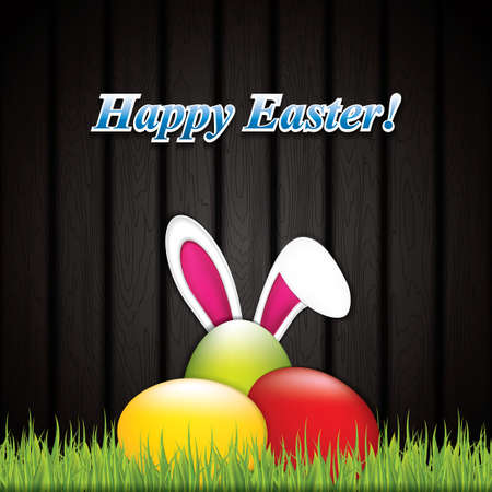 animal ear: Easter greeting card with rabbit ears and eggs on grass.Vector