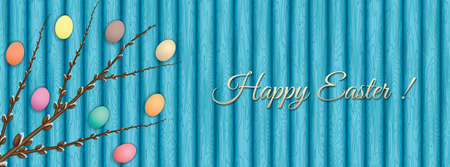 Easter banner with pussy-willow branch and eggs on wooden table
