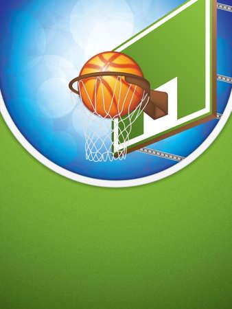 Illustration vectorielle de la brochure de basket-ball avec cerceau et ballon.