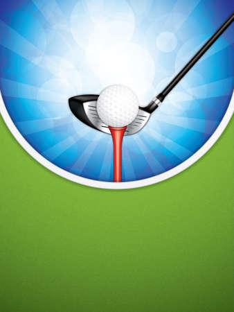 Illustrazione vettoriale di golf brochure con club e palla.