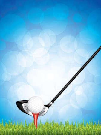 Vector illustratie van de golfclub en de bal in het gras