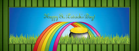 St. Patricks Day banner with pot of gold and rainbow.Vector