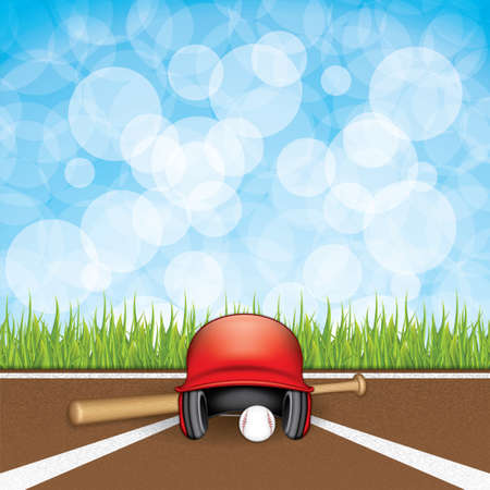 infield: Vector illustration of baseball helmet, wooden bats and ball