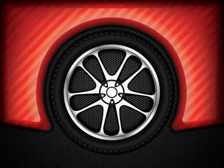 Realistic racing car wheel with shining rim.Vector illustration Illustration