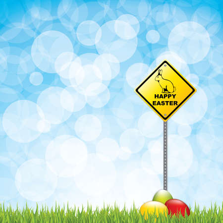 danger ahead: A Vector illustration of road sign with happy easter text and rabbit  silhouette Illustration