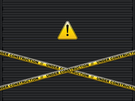 Yellow lines with under construction text on roller shutter garage door.Abstract background, vector illustration